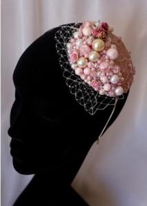 pink pearl headband hat