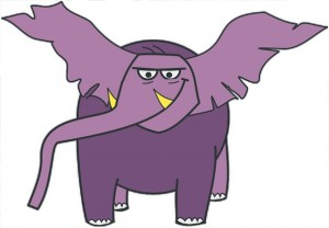 purple flying elephant